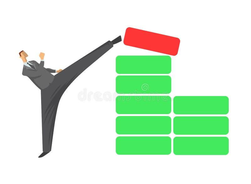 Homem de negócios alto do pontapé Homem no terno de negócio que retrocede o bloco vermelho para fora o da pilha de blocos verdes  ilustração do vetor