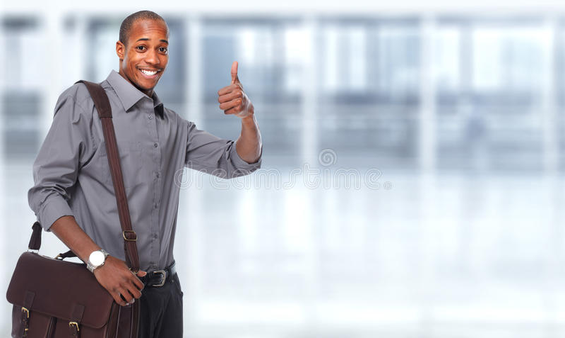 Homem de negócios americano africano feliz foto de stock royalty free