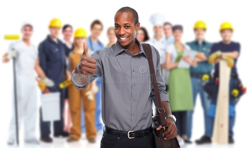 Homem de negócios americano africano feliz imagem de stock