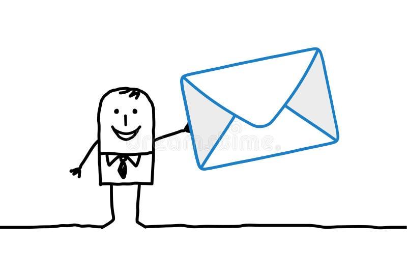 Homem de negócios & correio ilustração stock