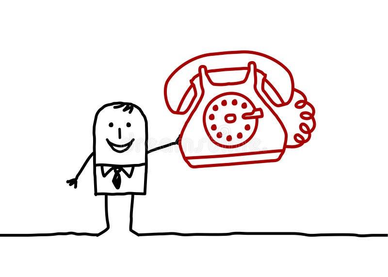 Homem de negócios & telefone ilustração stock