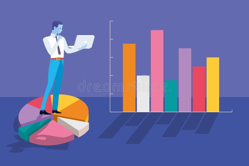 Homem de negócios Analyzing Graphs e estatísticas ilustração royalty free