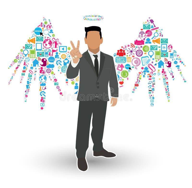 Homem de negócios Angel Wings ilustração do vetor