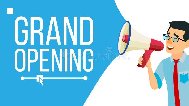 Homem de negócios Announce Concept Vetora Projeto gritando da bandeira do anúncio Homem com megafone Abertura grande Buscar por ilustração stock