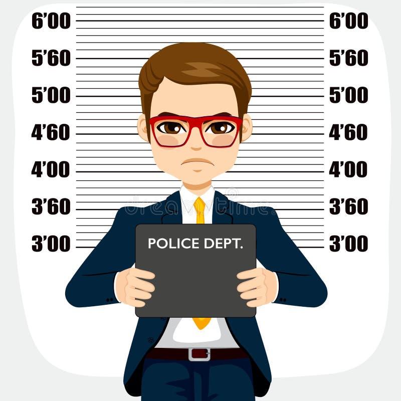 Homem de negócios Arrested Mugshot ilustração royalty free