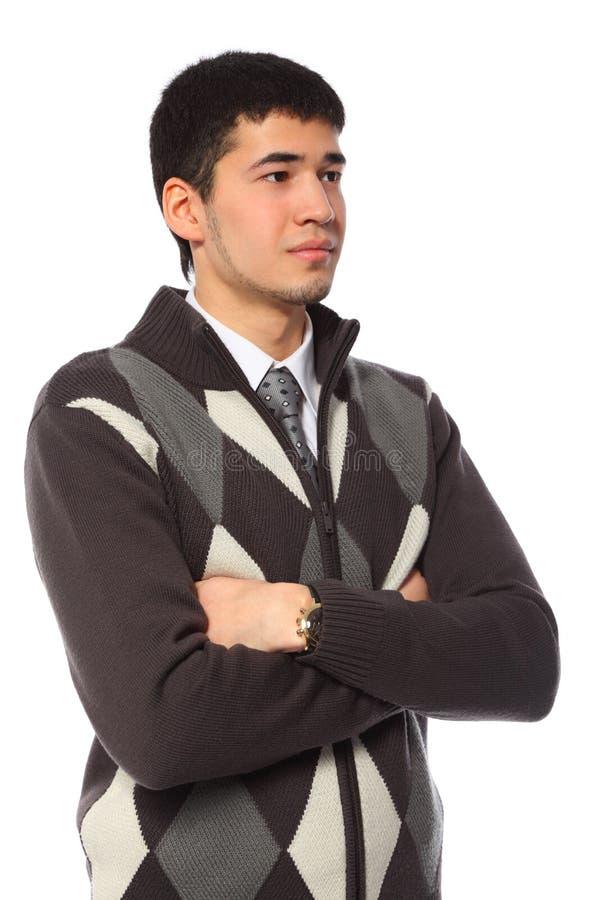Homem de negócios asiático novo na camisola imagem de stock royalty free