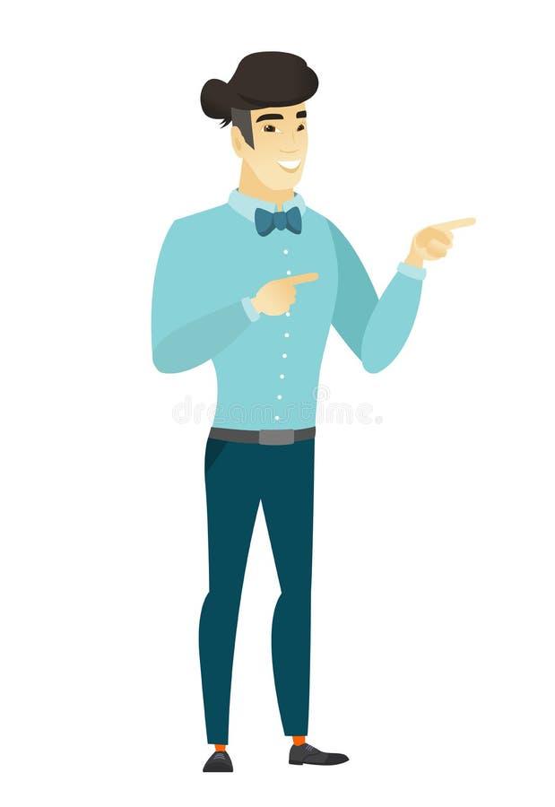 Homem de negócios asiático novo que aponta ao lado ilustração do vetor