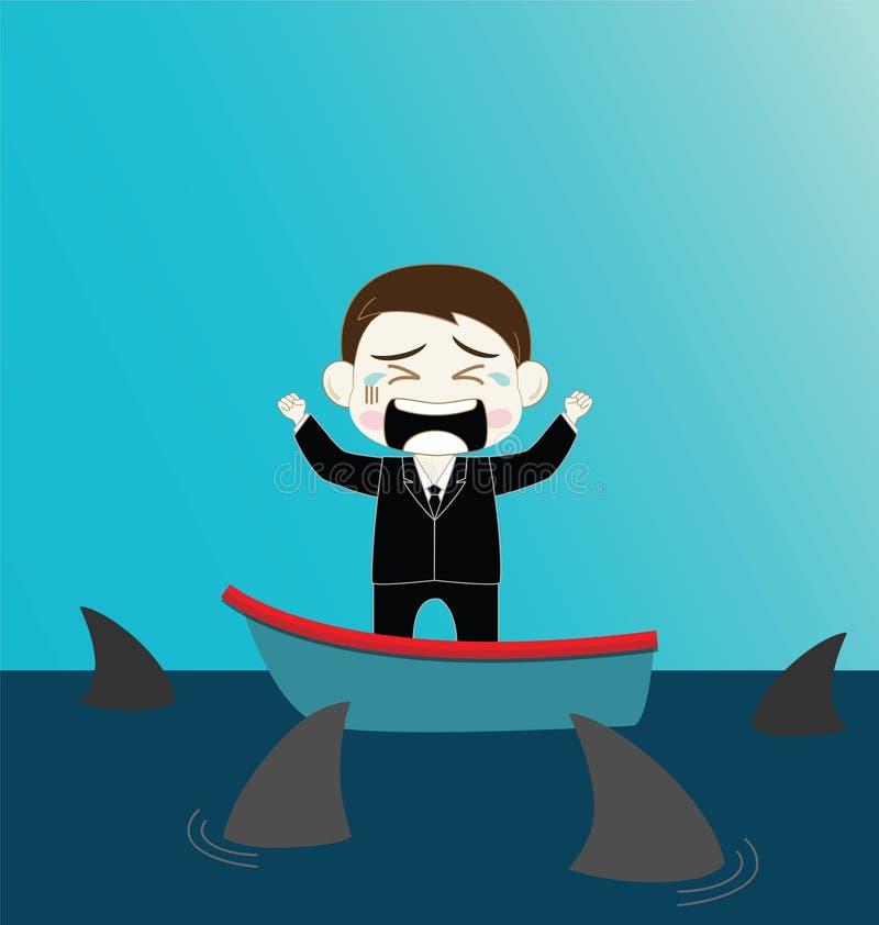 Homem de negócios assustado no barco cercado pelo tubarão ilustração royalty free