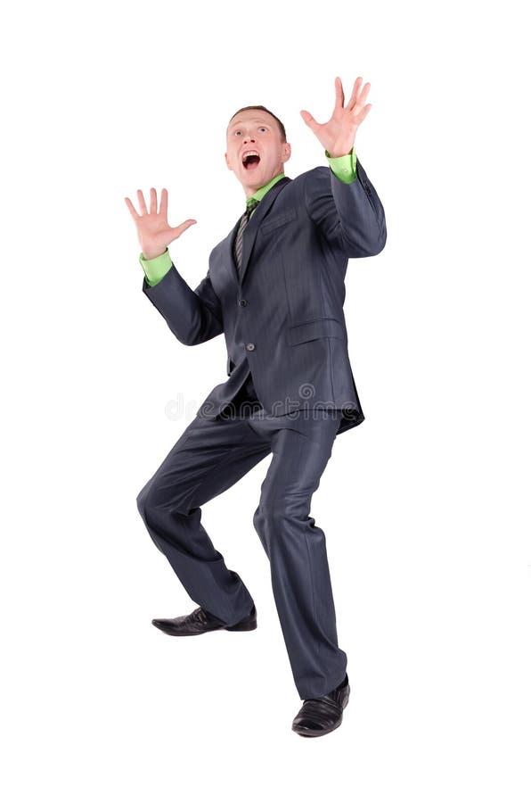 Homem de negócios assustado ou chocado fotografia de stock royalty free