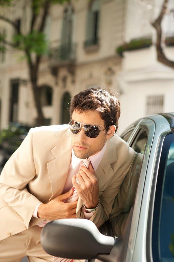 Download Homem De Negócios Que Prepara No Espelho De Carro. Imagem de Stock - Imagem de aparência, outdoors: 29849121