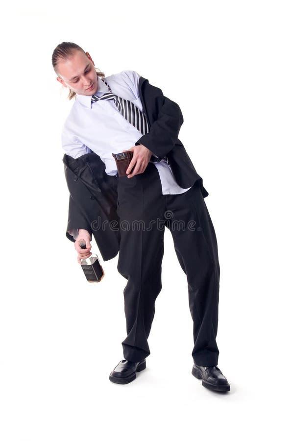 Homem de negócios bêbedo choc pela carteira vazia imagem de stock royalty free