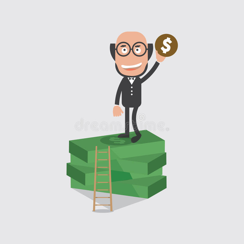 Homem de negócios On Banknotes da cabeça calva ilustração do vetor