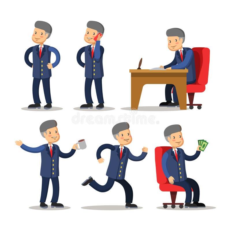 Homem de negócios bem sucedido Cartoon Set Homem com dinheiro ilustração stock