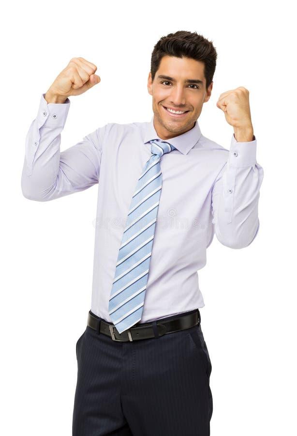 Homem de negócios bem sucedido With Clenched Fist fotografia de stock