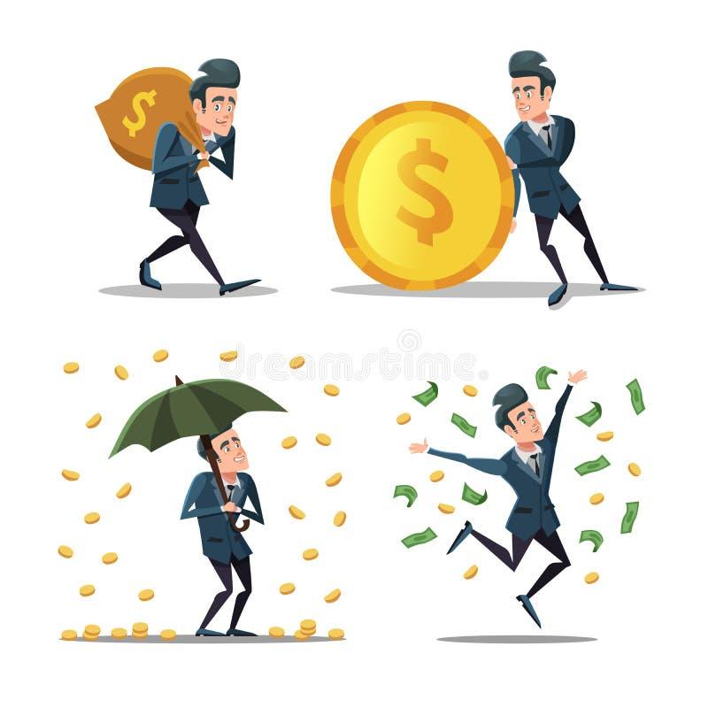 Homem de negócios bem sucedido com chuva do dinheiro Homem rico ilustração royalty free