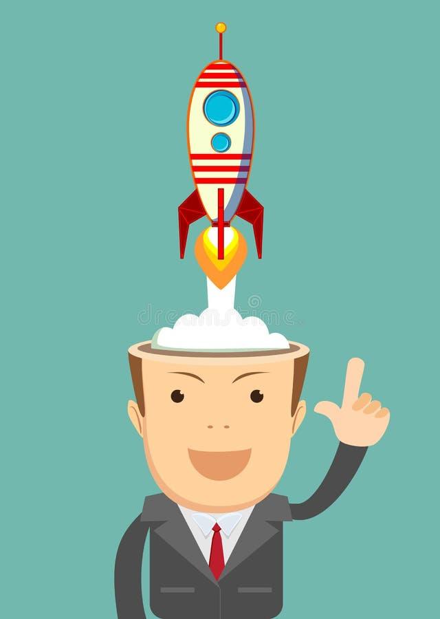 Homem de negócios bem sucedido com navio do foguete que lança-se de sua cabeça ilustração do vetor