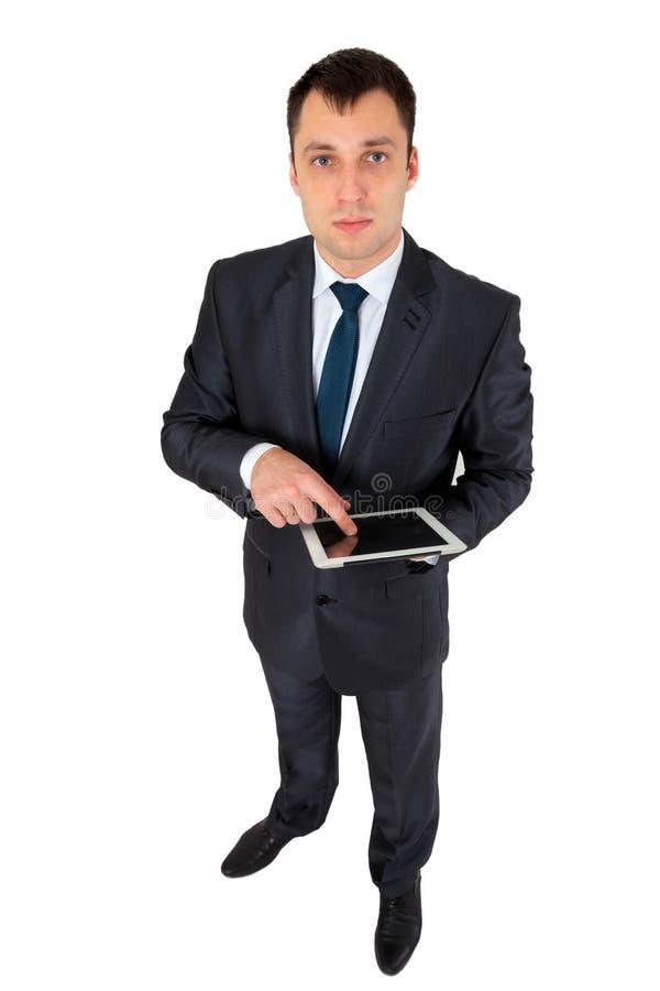 Homem de negócios bem sucedido isolado no branco fotos de stock