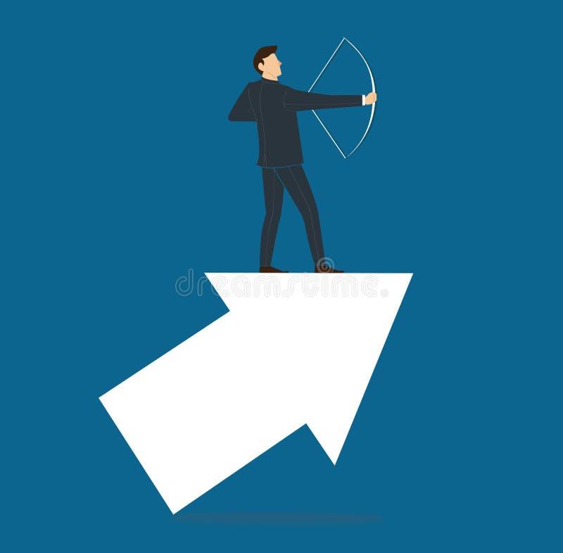 Homem de negócios bem sucedido na seta com ilustração do vetor do negócio do conceito da curva ilustração do vetor
