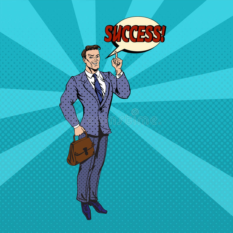 Homem de negócios bem sucedido Pop Art Banner ilustração stock