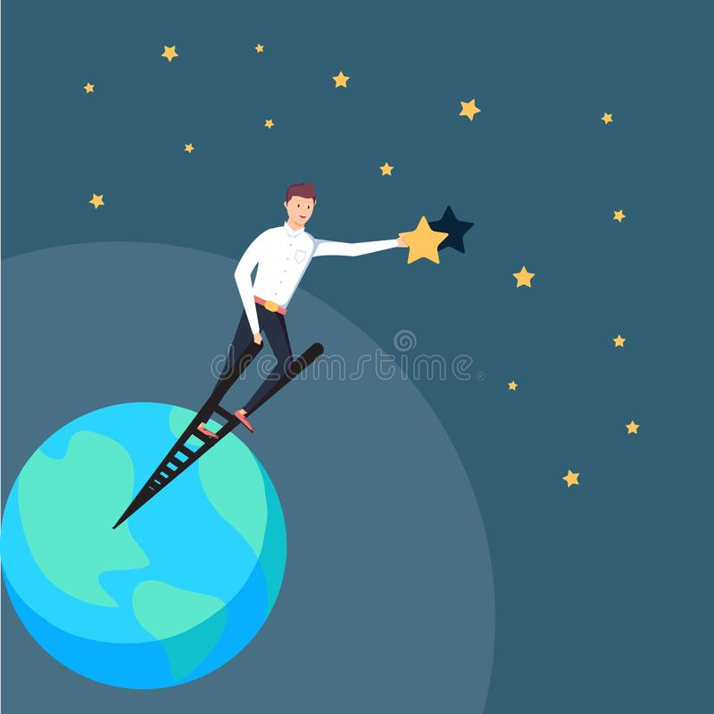 Homem de negócios bem sucedido que está na escada do sucesso e que alcança os objetivos que guardam uma estrela Realização do neg ilustração royalty free
