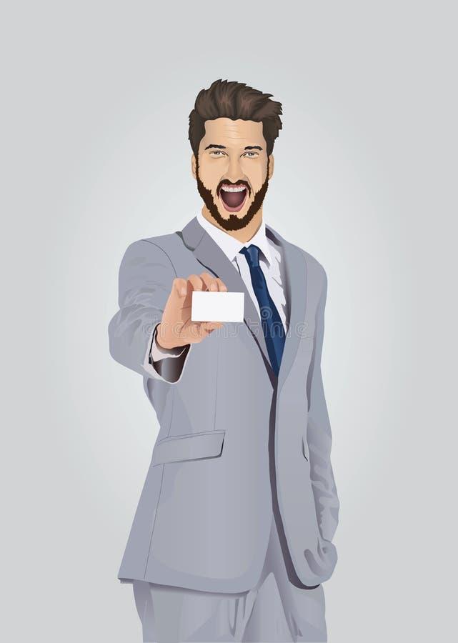 Homem de negócios bem vestido de sorriso que mostra o cartão ilustração do vetor