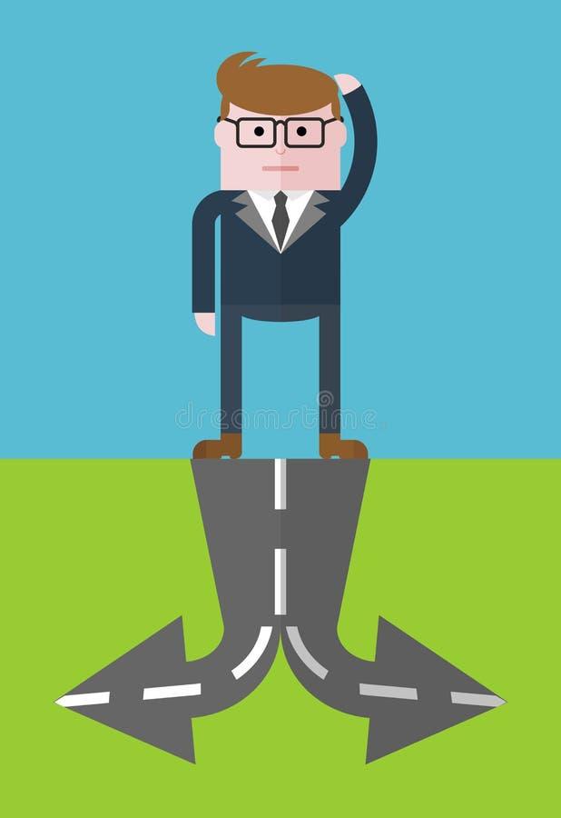 Homem de negócios a bifurcar-se ilustração stock