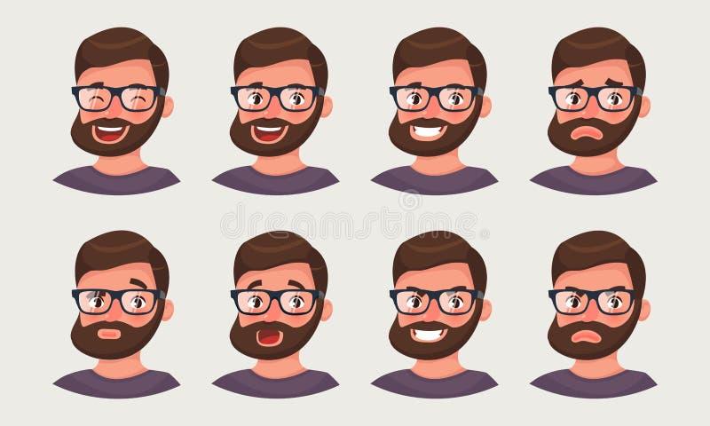 Homem de negócios bonito do moderno que mostra emoções diferentes Ilustração do vetor no estilo dos desenhos animados ilustração royalty free