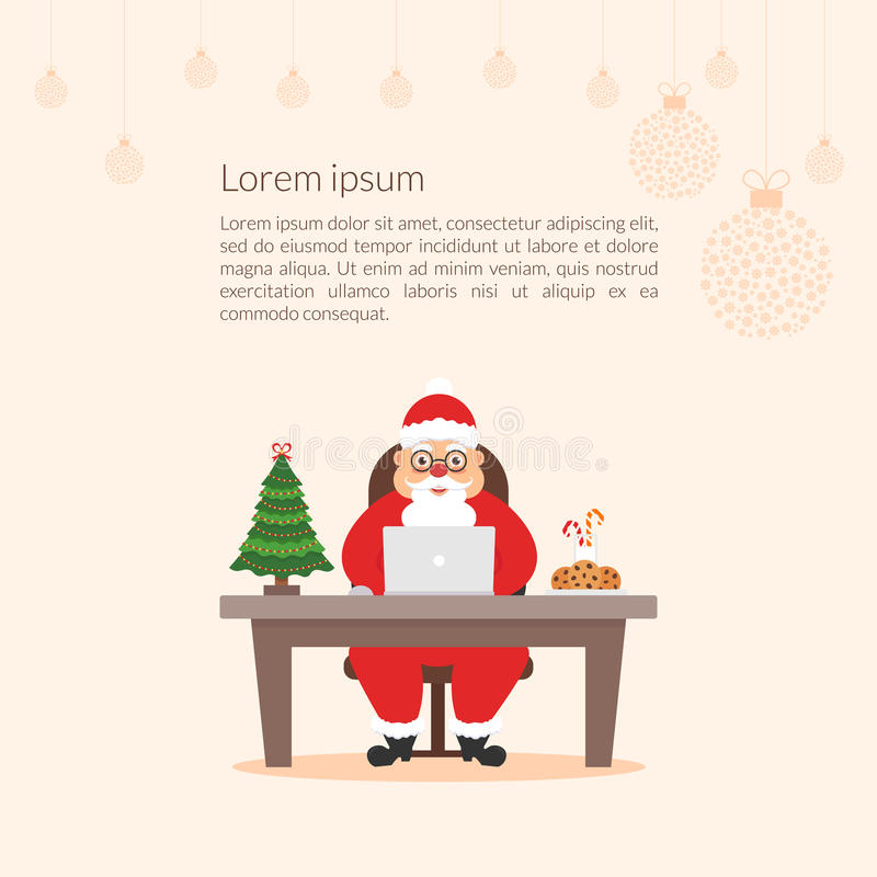Homem de negócios bonito Santa Claus do personagem de banda desenhada O Feliz Natal e o ano novo feliz decoraram o escritório do  ilustração royalty free
