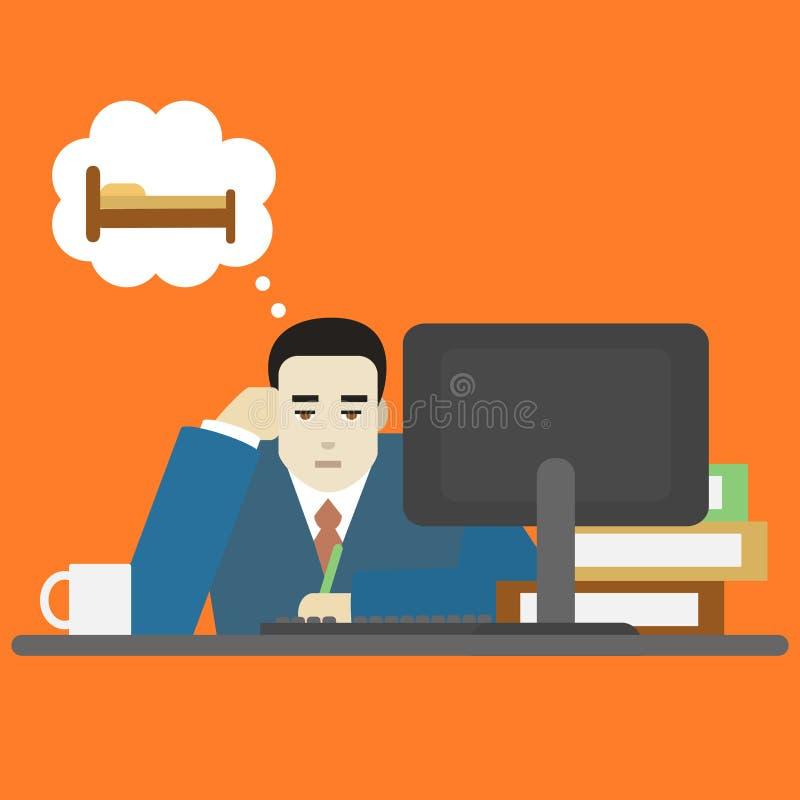 Homem de negócios Bored Tired dos desenhos animados no caráter do trabalho Vetor ilustração stock