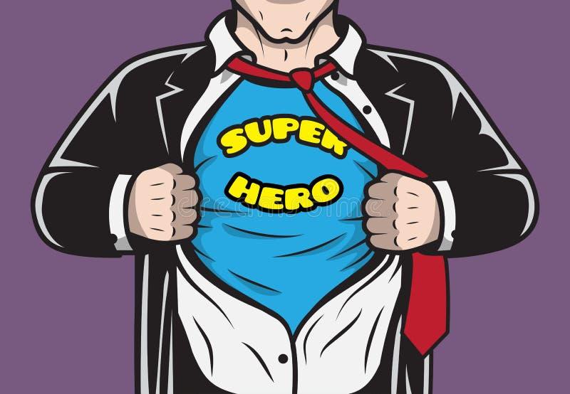 Homem de negócios cômico escondido Disguised do super-herói ilustração royalty free