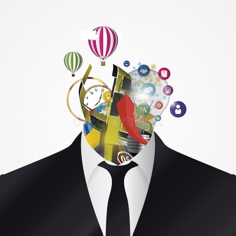 Homem de negócios Cabeça abstrata criativa Vetor ilustração do vetor