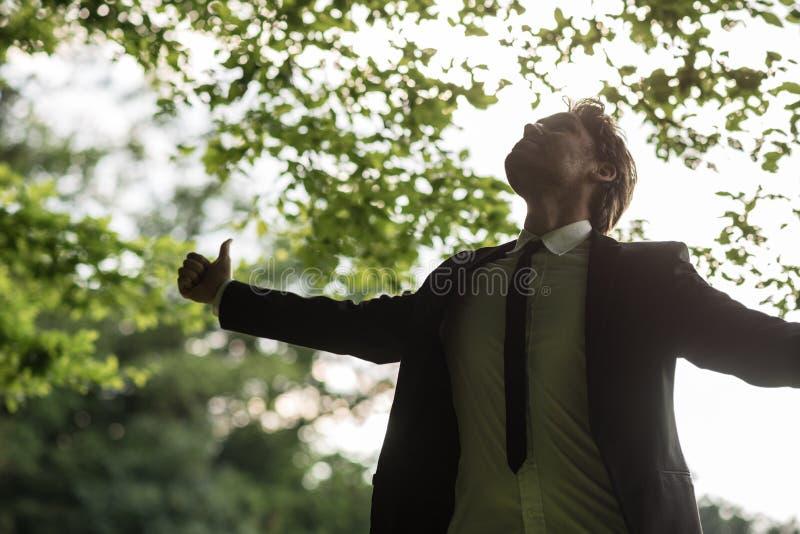 Homem de negócios calmo novo que está na floresta da mola que olha o upw imagens de stock royalty free