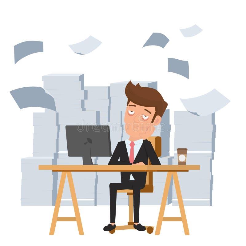 Homem de negócios cansado que senta-se na mesa de escritório e na pilha do documento O empregado cansado e quer ajudar Conceito d ilustração royalty free