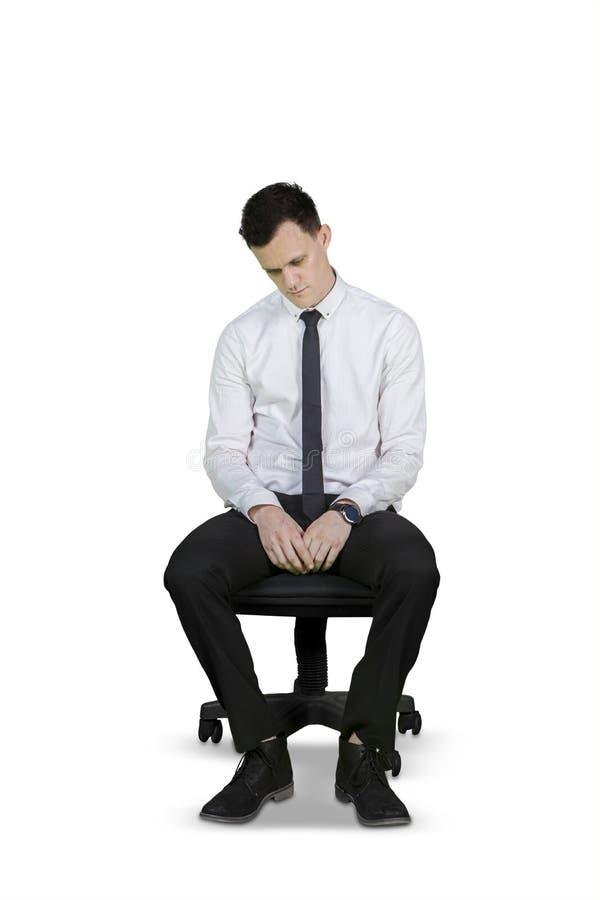 Homem de negócios caucasiano com expressão desesperada fotografia de stock royalty free