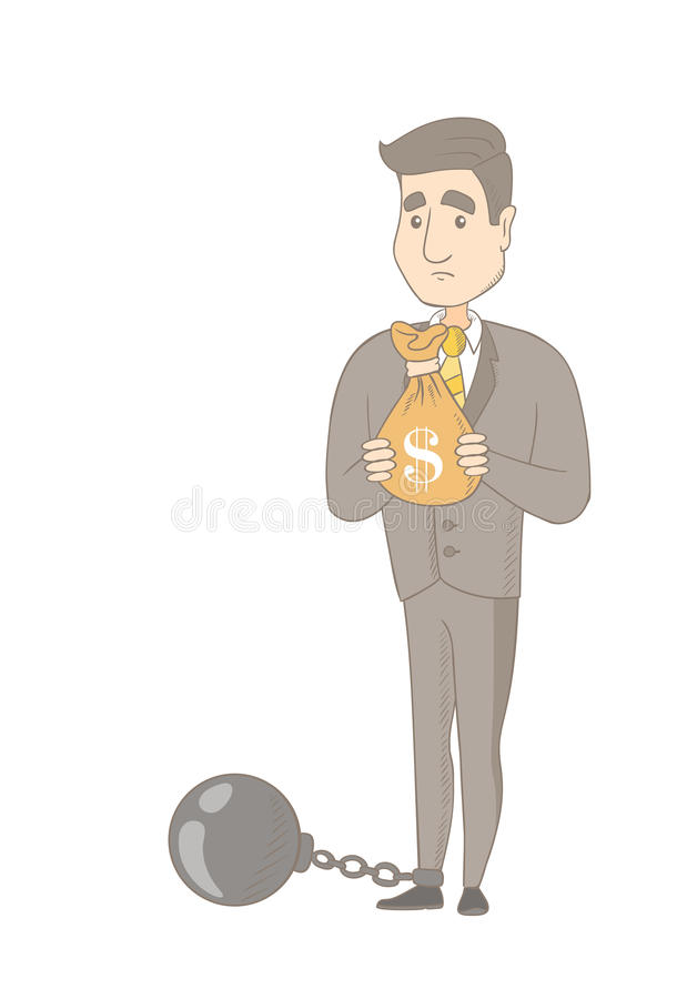 Homem de negócios caucasiano com o saco completo dos impostos ilustração stock