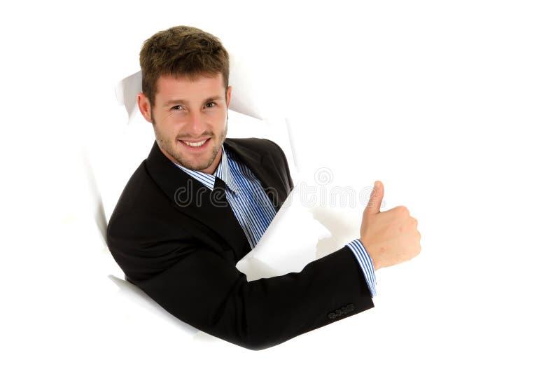 Homem de negócios caucasiano novo, polegar acima imagens de stock royalty free