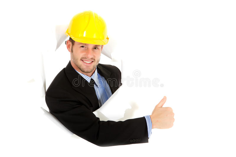 Homem de negócios caucasiano novo, polegar acima foto de stock