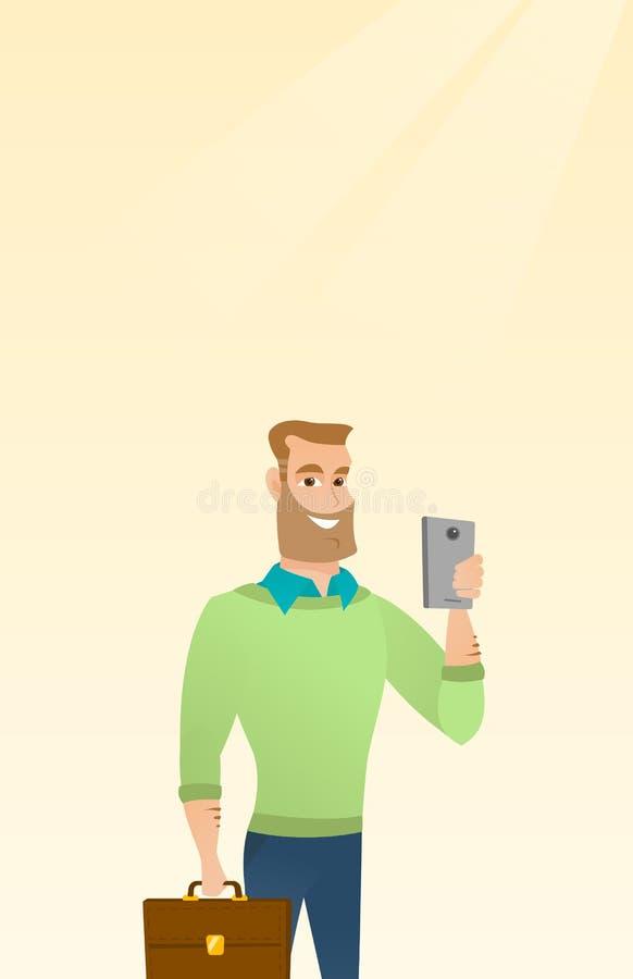 Homem de negócios caucasiano novo que faz o selfie ilustração do vetor
