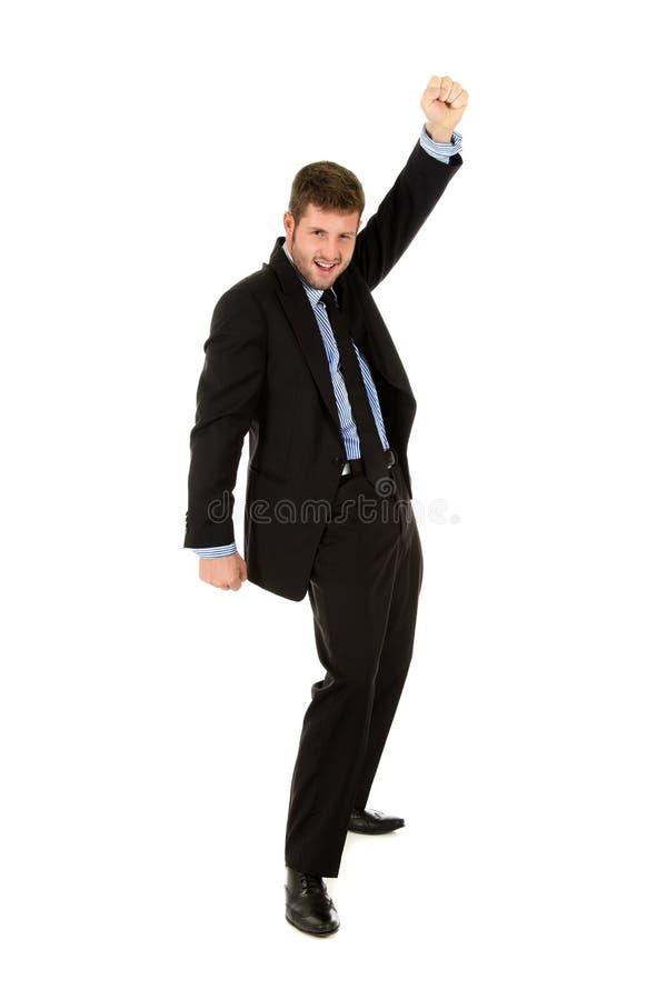 Homem de negócios caucasiano novo, vencedor fotos de stock