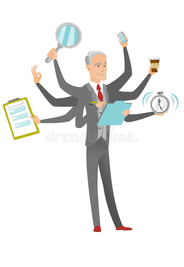 Homem de negócios caucasiano que lida com a multitarefa ilustração stock