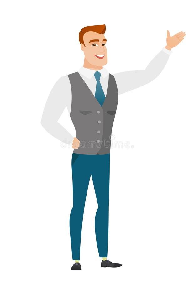 Homem de negócios caucasiano que mostra um sentido ilustração do vetor