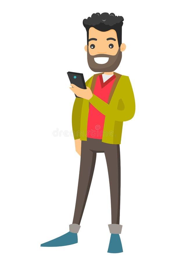 Homem de negócios caucasiano que olha o telefone celular ilustração stock