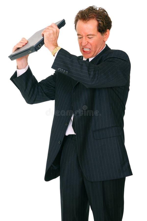 Homem de negócios caucasiano sênior louco isolado fotografia de stock royalty free