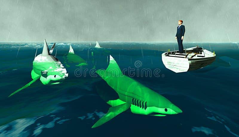 Homem de negócios cercado por tubarões ilustração stock