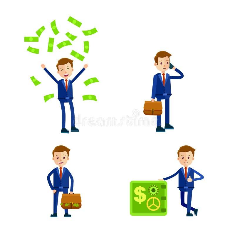 Homem de negócios Character dos desenhos animados Ilustrações ajustadas ilustração royalty free