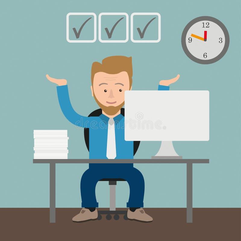 Homem de negócios Checklist Office dos desenhos animados ilustração do vetor
