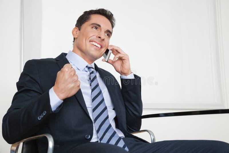 Homem de negócios Cheering fotos de stock royalty free