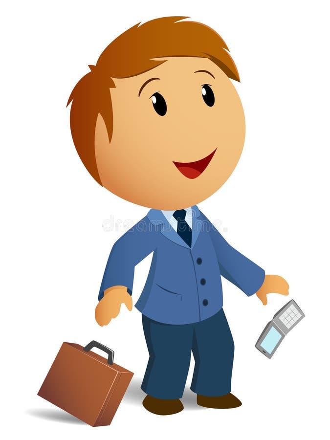 Homem de negócios choc feliz com caso do throw ilustração do vetor