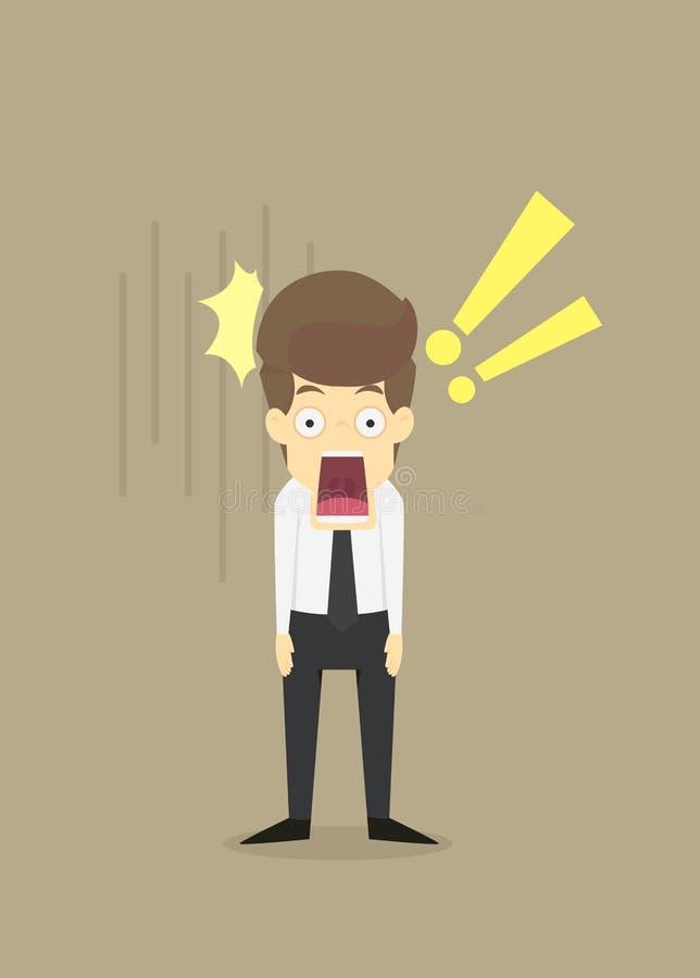 Homem de negócios chocado com a boca largamente aberta ilustração do vetor