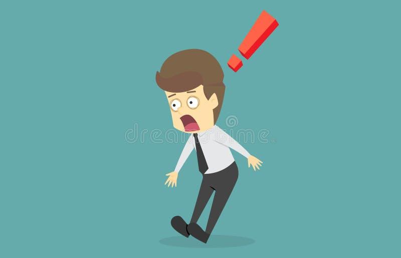 Homem de negócios chocado por algo Os desenhos animados do sucesso comercial são ilustração do vetor